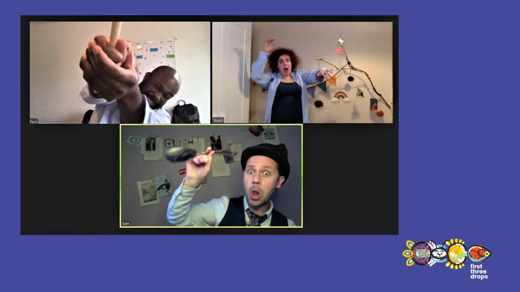 An image from the show being performed on zoom. On screen are 3 smaller screens showing the actors Paul, Steph and Sam. In the background of each actor on the wall in their homes there are strings hung up with photographs hung on them.